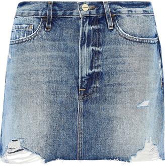 Frame Le Mini Distressed Denim Mini Skirt