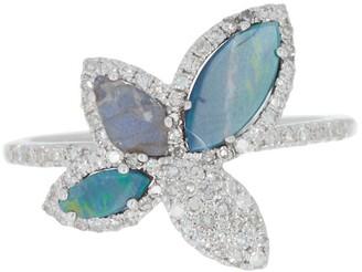 Meira T 14K White Gold Labradorite, Opal, & Pave Diamond Ring