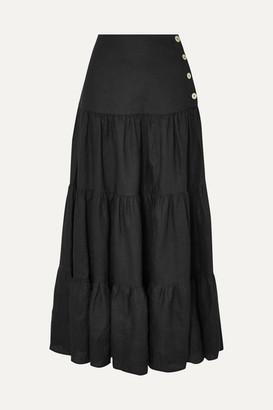 MATIN - Tiered Linen Maxi Skirt - Black