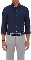 Finamore MEN'S TEXTURED-DIAMOND-PATTERN SHIRT-NAVY SIZE L