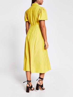 River Island Puff Sleeve Midi Shirt Dress - Yellow