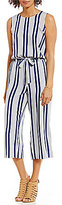 Vince Camuto Two by Striped Rows Belted Culotte Jumpsuit