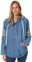 O'Neill New Women's Redwood Womens Denim Hooded Pullover Pu Blue