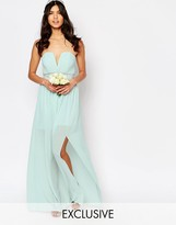 TFNC WEDDING Pleated Embellished Waist Maxi Dress