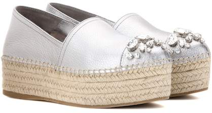 Miu Miu Embellished metallic leather platform espadrilles