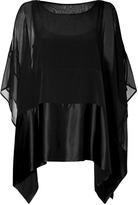 DKNY Black Stretch Silk/Satin Paneled Poncho