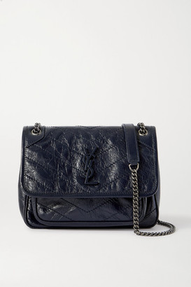 Saint Laurent Niki Baby Mini Quilted Crinkled Glossed-leather Shoulder Bag - Navy