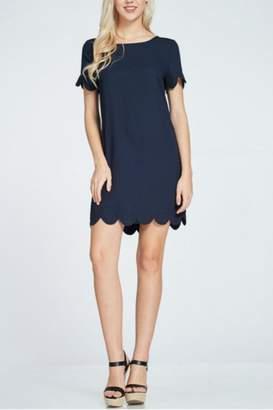 Rosette Scalloped Hem Dress