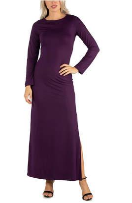 24seven Comfort Apparel Women Form Fitting Long Sleeve Side Slit Maxi Dress