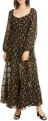 Rixo Cameron Star Print Long Sleeve Metallic Silk Maxi Dress