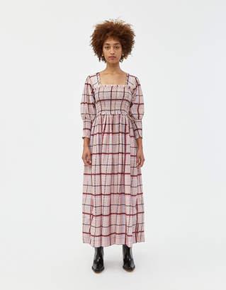 Ganni Smocked Silk Maxi Dress in Moonlight Mauve