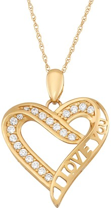 """Cubic Zirconia 10k Gold """"I Love You"""" Heart Pendant Necklace"""