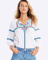 Seafolly Island Vibe Geo Tribal Embroidered Top