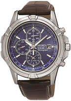 Seiko Ssc141p2 Chronograph Date Leather Strap Watch, Brown/dark Blue