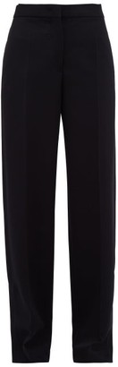 Jil Sander Split-cuff Wool-blend Trousers - Womens - Dark Navy