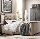 Restoration Hardware Churchill Fabric Sleigh Bed With Footboard