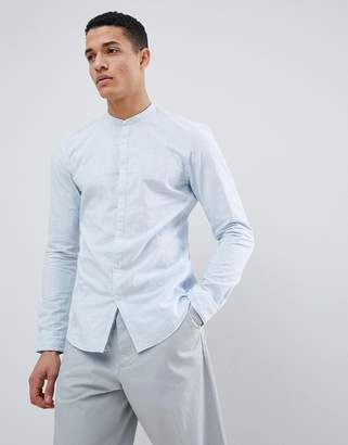 Tom Tailor Long Sleeve Grandad Shirt in 100% Cotton-Blue