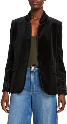 Frame Stand-Collar Soutache Velvet Jacket