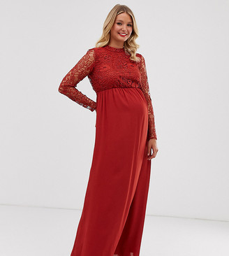 ASOS DESIGN Maternity maxi dress with long sleeve lace top