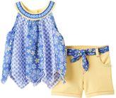 Little Lass Baby Girl Print Chiffon Tank Top & Shorts Set