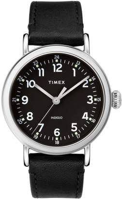 Timex Standard Silvertone Leather-Strap Watch