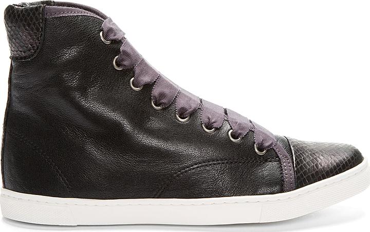 Lanvin Black Leather Cap Toe Snakeskin Sneakers