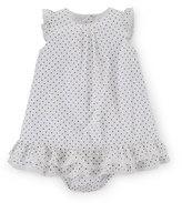 Ralph Lauren Sleeveless Pima Polka-Dot Dobby Dress w/ Bloomers, White, Size 9-24 Months