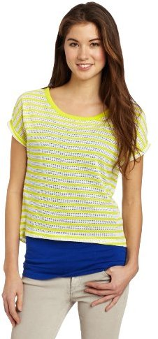 Southpole Juniors Twofer Stripe Shirt with Solid Color Tank Top