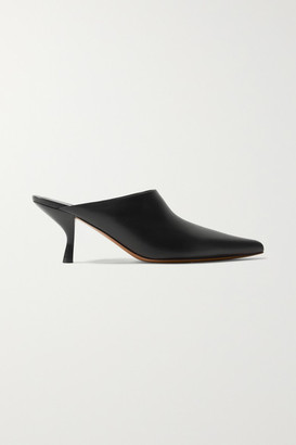 The Row Bourgeoise Leather Mules - Black