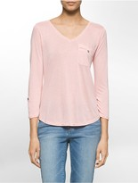 Calvin Klein Mixed Media Long Sleeve V-Neck Top