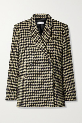 Anine Bing Kaia Double-breasted Houndstooth Wool-blend Blazer - Black