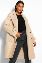 Thumbnail for your product : boohoo Faux Leather Teddy Trim Trench Coat