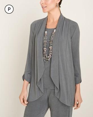 Travelers Classic Petite Gray Pleat-Sleeve Jacket