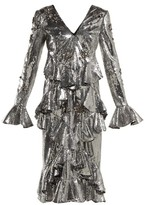 Erdem Desiree Ruffled Sequin Dress - Womens - Silver