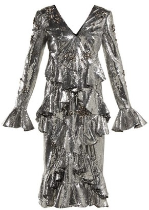 Erdem Desiree Ruffled Sequin Dress - Silver