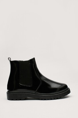 Nasty Gal Womens Faux Leather Chelsea Boots with Cleated Sole - Black