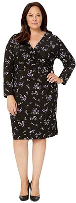 Lauren Ralph Lauren Plus Size Printed Matte Jersey Nemota Long Sleeve Day Dress (Black/Purple/Multi) Women's Clothing