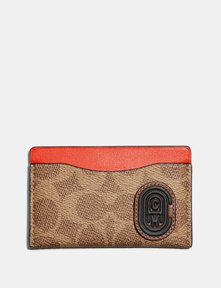 Coach Small Card Case With Signature Canvas Blocking And Patch