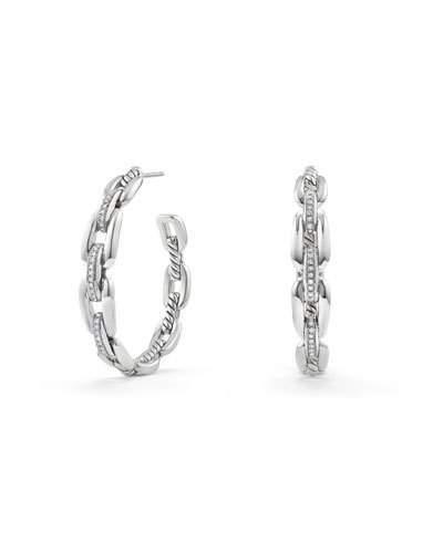 David Yurman Wellesley Sterling Silver Large Hoop Earrings with Diamonds