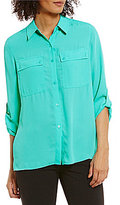Jones New York Roll-Sleeve Pleated Back Shirt