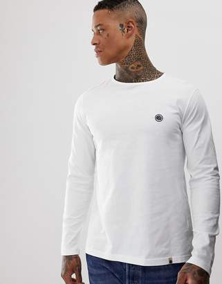 Pretty Green chest logo long sleeve t-shirt in white