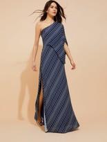 Halston Asymmetric Sleeve Stripe Printed