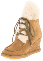 Chloé Peggy Suede Shearling Fur Wedge Bootie