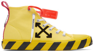 Off-White Yellow and Black Arrows Mid-Top Sneakers