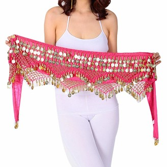 Guiran Women Mini Skirt Hip Scarf Sequined Zumba Belly Dance Belt with Coins Waist Chain Rose One Size