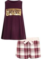 River Island Girls red 'snooze' print shorts pajama set