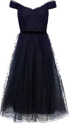 Marchesa Off-the-shoulder Pleated Velvet-trimmed Glittered Tulle Midi Dress