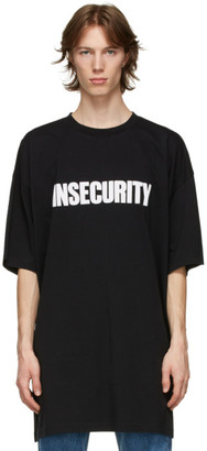 Vetements Black Oversized Insecurity T-Shirt