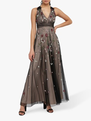 Monsoon Emmy Floral Embellished Maxi Dress, Nude