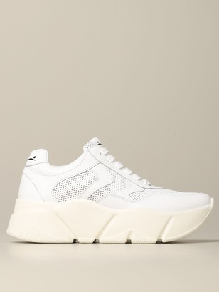 Voile Blanche Sneakers In Smooth And Perforated Leather